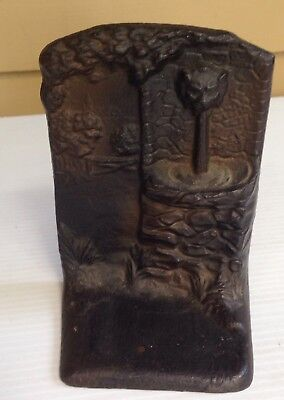 Antique Cast Bronze Lion Head Fountain Landscape Door Stop Bookend
