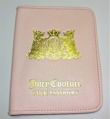 "♡Juicy Couture♡ ""Pink Passport"" Pink & Gold Genuine Leather Passport Cover NEW"