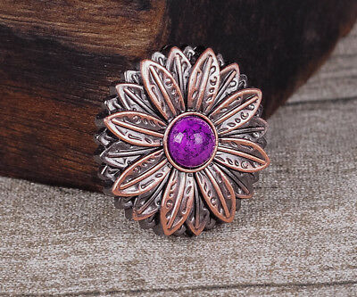 10PC 30*30MM Flower Concho with Purple Turquoise Center Antique Copper Screwback