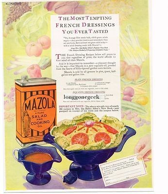 1927 Mazola Salad Cooking Oil art Vtg Print Ad French Dressing Recipe