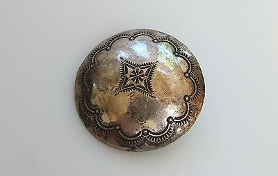 Old concho sterling silver Navajo large silver single morning star button 36mm
