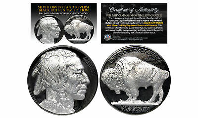 1930's BLACK RUTHENIUM Indian Head Buffalo Nickel FULL DATE with GENUINE SILVER