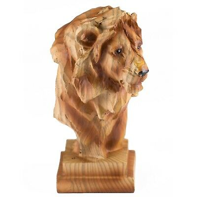 """Small Lion Head Bust Faux Carved Wood Look Figurine Resin 4"""" High New!"""