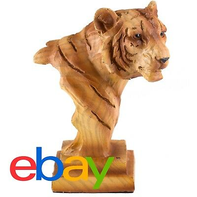 """Small Tiger Head Bust Faux Carved Wood Look Figurine Resin 3.5"""" High New!"""