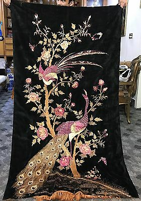 """Antique Chinese Garden Scene Wall Hanging Hand Embroidery On Velvet 41"""" X 71"""""""