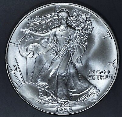 1986 1 oz AMERICAN SILVER EAGLE BRILLIANT UNCIRCULATED ASE  SKU1986B