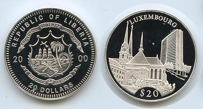GS404 - Liberia 20 Dollars 2000 Silber Luxembourg Luxemburg PROOF