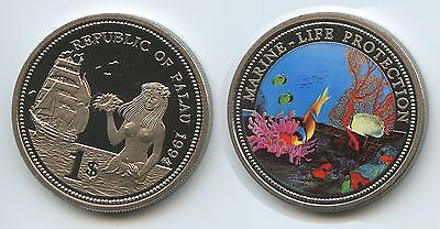 PA15 - Palau 1 Dollar 1994 KM#5 Marine Life Protection Multicolor Farbmünze