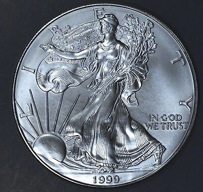 1999 1 oz AMERICAN SILVER EAGLE BRILLIANT UNCIRCULATED ASE  SKU1999B