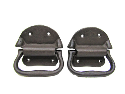 "Lot/Set of 2 Rustic New 4"" Cast Iron TRUNK PULL Handle Gate Trap Door"