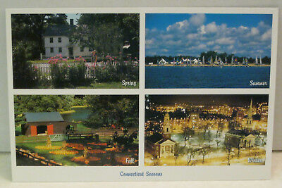 Connecticut Seasons Spring Summer Fall Winter Connecticut Postcard