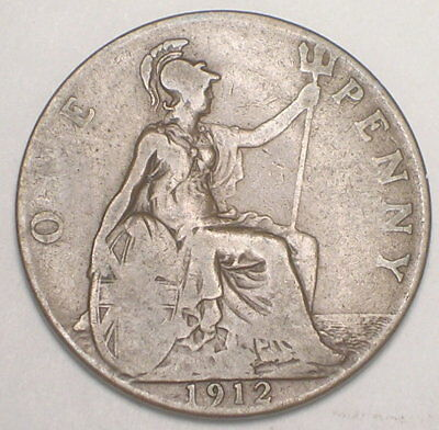 1912 UK Great Britain British One 1 Penny King George V Coin