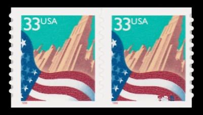 3281d Pair City Flag 33c Scarce Smallest Date 1.2mm Type I 1999 MNH - Buy Now