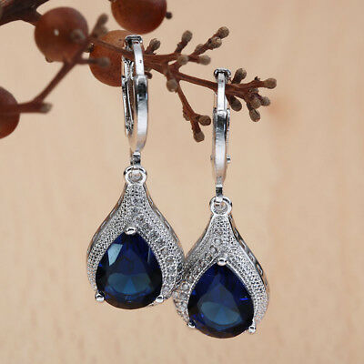 Women;s Fashion 925 Silver Drop Sapphire Ear stud Hoop Earrings Wedding Jewelry