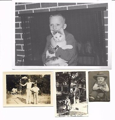 1920s-50s, CUTE BOY photos including great one with cat, lot zz, 10 photos TRAIN