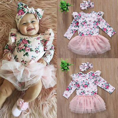 UK Stock Newborn Infant Baby Girl Casual Floral Lace Romper Headband Outfit NEW