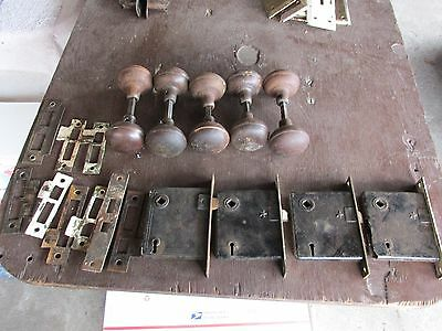 Lot Of Misc Door Hardware, 5 Sets Metal Knobs,4 Locks, 9 Latch Face Plates
