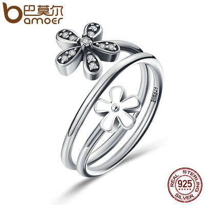 Bamoer .925 Sterling Silver Ring With Clear CZ Sweet Flower Talks women Jewelry