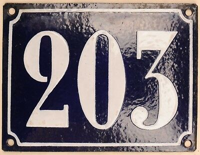 Large old French house number 203 door gate plate plaque enamel steel metal sign