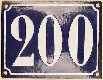 Large old French house number 200 door gate plate plaque enamel steel metal sign