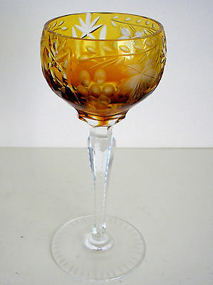 """1 Vintage Grape Amber Gold Cased Cut Clear Crystal 7"""" Wine Sherry Roemer"""