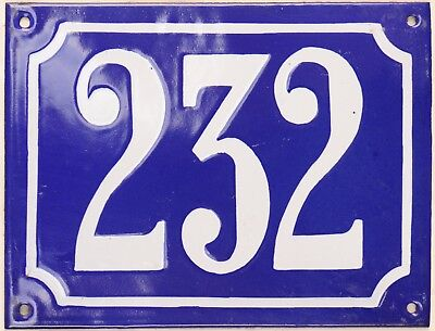 Large old French house number 232 door gate plate plaque enamel steel metal sign