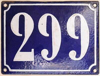Large old French house number 299 door gate plate plaque enamel steel metal sign