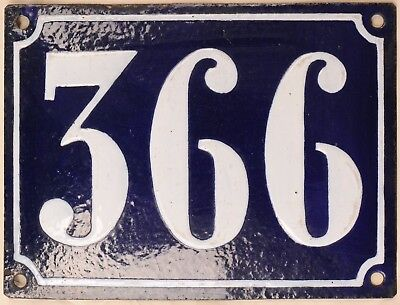 Large old French house number 366 door gate plate plaque enamel steel metal sign