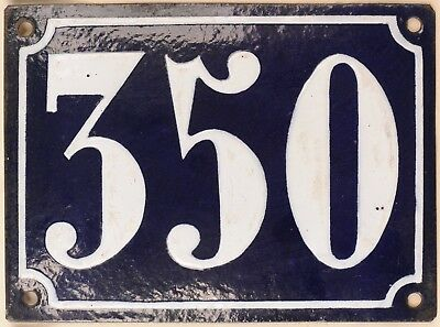Large old French house number 350 door gate plate plaque enamel steel metal sign