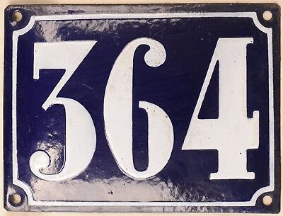 Large old French house number 364 door gate plate plaque enamel steel metal sign