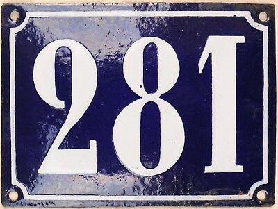 Large old French house number 281 door gate plate plaque enamel steel metal sign