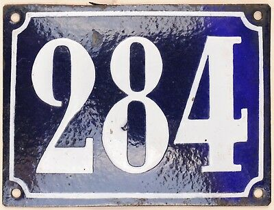 Large old French house number 284 door gate plate plaque enamel steel metal sign