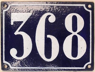 Large old French house number 368 door gate plate plaque enamel steel metal sign