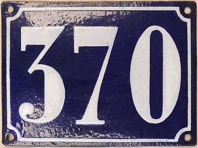 Large old French house number 370 door gate plate plaque enamel steel metal sign