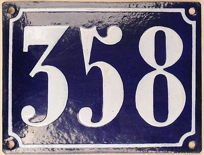 Large old French house number 358 door gate plate plaque enamel steel metal sign