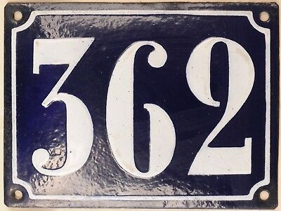 Large old French house number 362 door gate plate plaque enamel steel metal sign