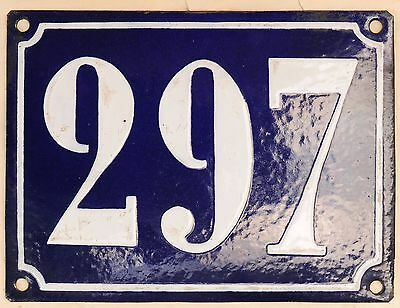 Large old French house number 297 door gate plate plaque enamel steel metal sign