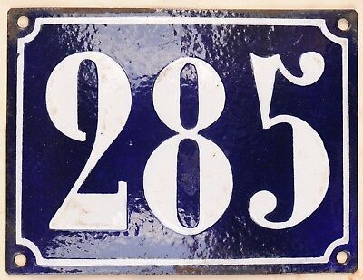 Large old French house number 285 door gate plate plaque enamel steel metal sign