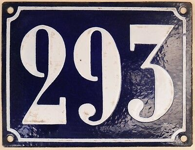 Large old French house number 293 door gate plate plaque enamel steel metal sign