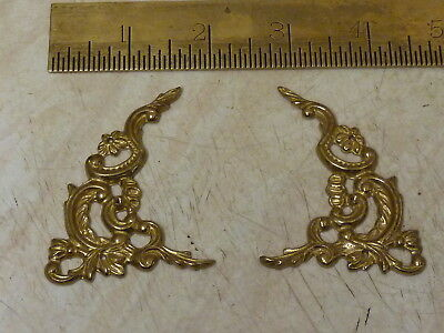 New Old Stock Pair Of Bracket Clock Cast Brass Arch Spandrels (L2)