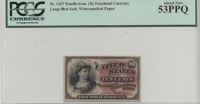 Fr. 1257 Fourth Issue 10c Fractional Currency Large Red Seal PCGS 53 PPQ