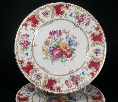 """Syracuse ROMANCE MAROON Set of Four 9 3/4"""" Dinner Plates - Excellent Condition!"""