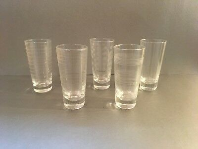 """Set of 5 Different Etched Pattern Cordial Shooter Shot Glasses Clear 4.75"""" Tall"""