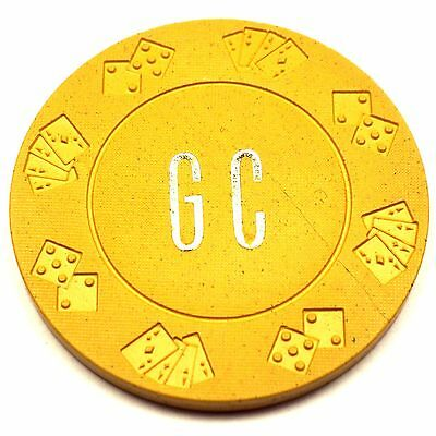 "Vintage ""GC"" Casino Chip $10 Yellow Diecar Mold Unknown"