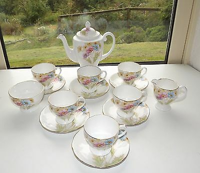 Royal Standard Bone China England Poppies Coffee Set 15 Piece Cups Saucers Milk