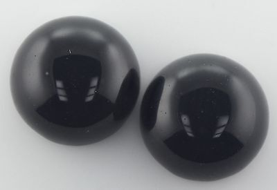 A PAIR OF 10mm ROUND CABOCHON-CUT NATURAL AFRICAN JET-BLACK ONYX GEMSTONES