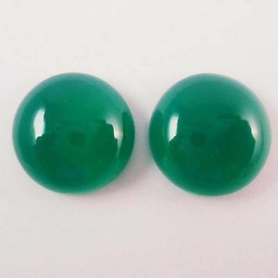A PAIR OF 10mm ROUND CABOCHON-CUT NATURAL AFRICAN DEEP FOREST-GREEN ONYX GEMS