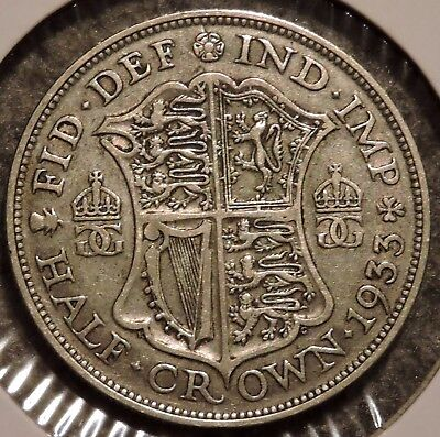 British Silver Half Crown - 1933 - King George V - $1 Unlimited Shipping