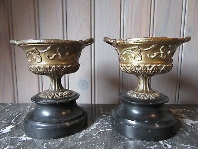 Elegant French Antique Bronze Pair Of Ornaments Cups Bowls