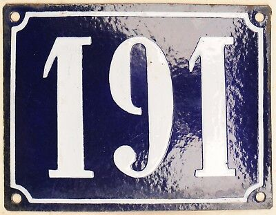 Large old French house number 191 door gate plate plaque enamel steel metal sign